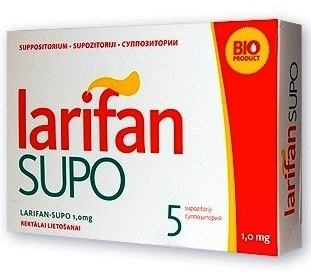 LARIFAN SUPO supozitoriji 0,5 mg. Iepakojumā 5 gab.
