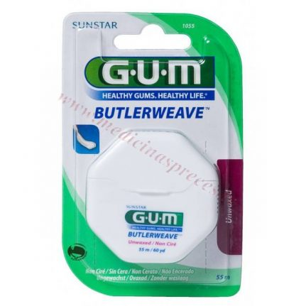 GUM Butlerweave zobu diegs, nevaskots, 55 metri.